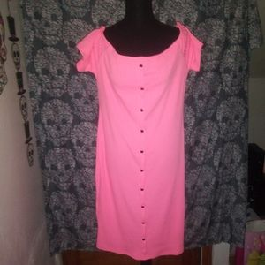 Neon Coral Off The Shoulder Dress